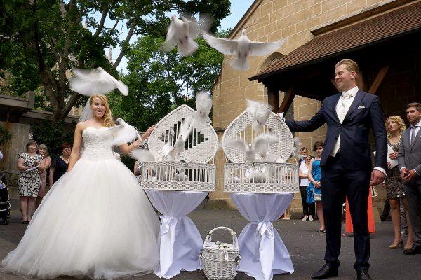 Hochzeitstauben fliegen